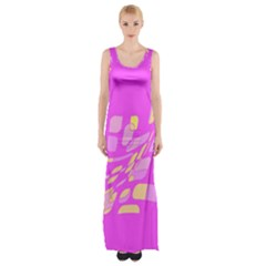 Pink abstraction Maxi Thigh Split Dress