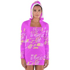 Pink abstraction Women s Long Sleeve Hooded T-shirt