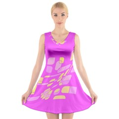 Pink abstraction V-Neck Sleeveless Skater Dress