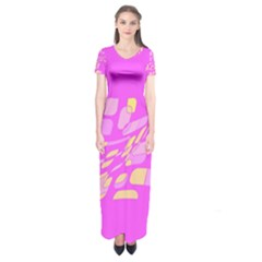 Pink Abstraction Short Sleeve Maxi Dress