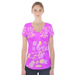 Pink Abstraction Short Sleeve Front Detail Top