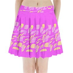 Pink Abstraction Pleated Mini Mesh Skirt