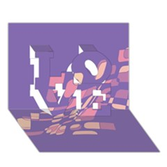 Purple abstraction LOVE 3D Greeting Card (7x5)