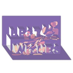 Purple abstraction Best Wish 3D Greeting Card (8x4)