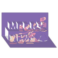 Purple abstraction Merry Xmas 3D Greeting Card (8x4)