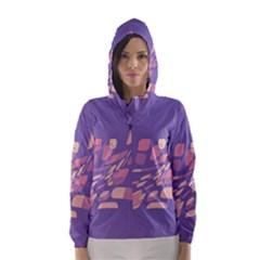 Purple abstraction Hooded Wind Breaker (Women)