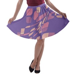 Purple abstraction A-line Skater Skirt
