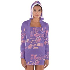 Purple Abstraction Women s Long Sleeve Hooded T Shirt