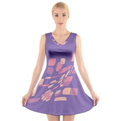 Purple Abstraction V Neck Sleeveless Skater Dress