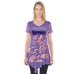 Purple Abstraction Short Sleeve Tunic