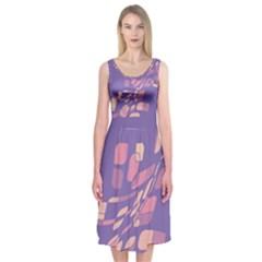 Purple Abstraction Midi Sleeveless Dress