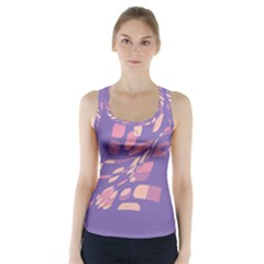 Purple Abstraction Racer Back Sports Top
