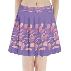 Purple Abstraction Pleated Mini Mesh Skirt