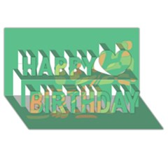 Green abastraction Happy Birthday 3D Greeting Card (8x4)
