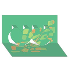 Green abastraction Twin Hearts 3D Greeting Card (8x4)