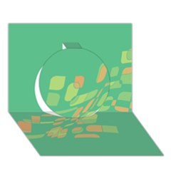 Green abastraction Circle 3D Greeting Card (7x5)