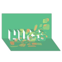 Green abastraction HUGS 3D Greeting Card (8x4)