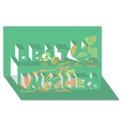 Green abastraction Best Wish 3D Greeting Card (8x4)