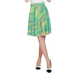 Green abastraction A-Line Skirt