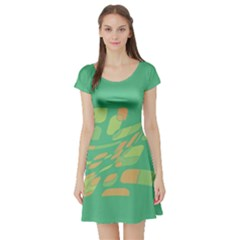 Green abastraction Short Sleeve Skater Dress
