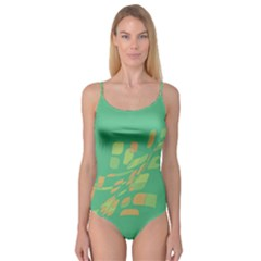 Green abastraction Camisole Leotard