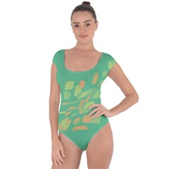 Green abastraction Short Sleeve Leotard