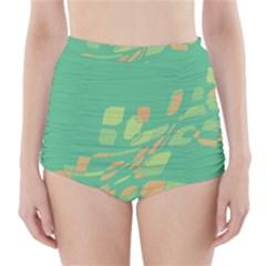 Green abastraction High-Waisted Bikini Bottoms