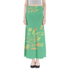 Green abastraction Maxi Skirts