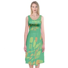 Green Abastraction Midi Sleeveless Dress