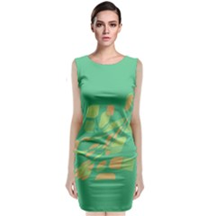 Green Abastraction Classic Sleeveless Midi Dress