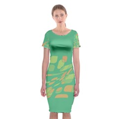 Green Abastraction Classic Short Sleeve Midi Dress