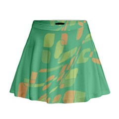 Green Abastraction Mini Flare Skirt