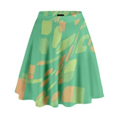 Green Abastraction High Waist Skirt
