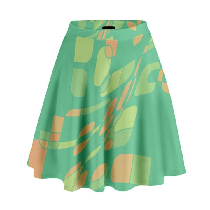 Green abastraction High Waist Skirt
