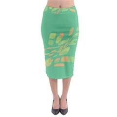 Green Abastraction Midi Pencil Skirt