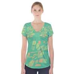 Green abastraction Short Sleeve Front Detail Top