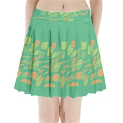 Green Abastraction Pleated Mini Mesh Skirt