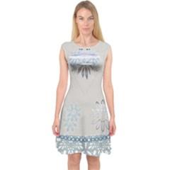 Painted Pompey Beach Capsleeve Midi Dress