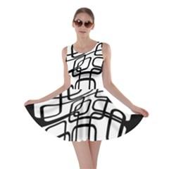 White abstraction Skater Dress