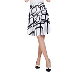 White abstraction A-Line Skirt