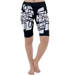 White abstraction Cropped Leggings