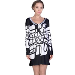White abstraction Long Sleeve Nightdress