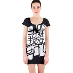 White abstraction Short Sleeve Bodycon Dress