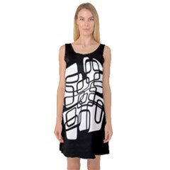 White abstraction Sleeveless Satin Nightdress