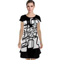 White abstraction Cap Sleeve Nightdress