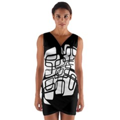 White abstraction Wrap Front Bodycon Dress