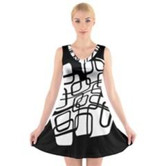 White abstraction V-Neck Sleeveless Skater Dress