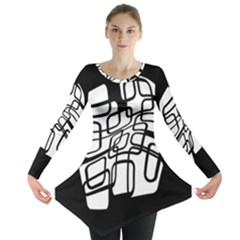 White abstraction Long Sleeve Tunic