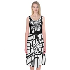 White Abstraction Midi Sleeveless Dress