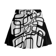 White Abstraction Mini Flare Skirt